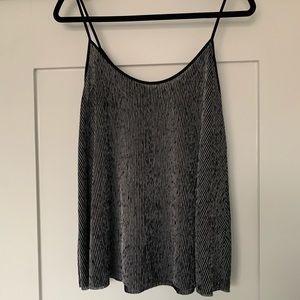 Zara black and silver Ribbed Loose Fit Tank Top
